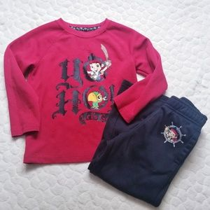 Disney Jake Pirates long sleeved tee pants top 4T